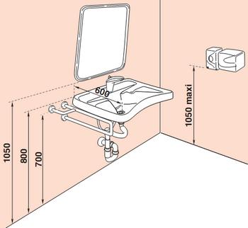 Lavabo et miroir PMR